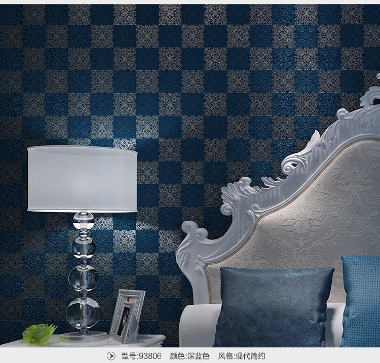 Modern Blue Lattice Non-woven Wallpaper papel de parede para sala atacado<br><br>Aliexpress
