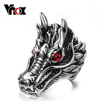 Vnox Dragon Head Rings For Men Punk Rock Style Red Stone Rings Party Jewelry(China)