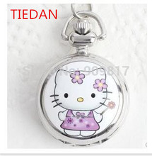 New cartoon hello kitty silver quartz  pocket watches necklace with chain Good quality quartz girl gift watches