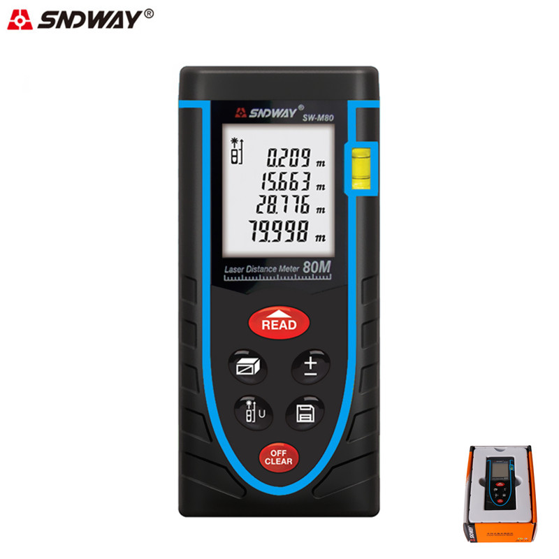 SNDWAY 80M Laser Rangefinder Digital Laser Distance Meter Laser Measure Area/volume Rangefinder Digital Meter Construction Tools<br>