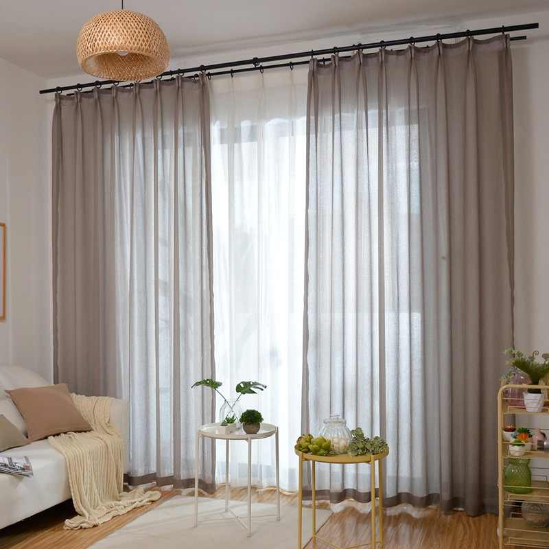 Latest Cheap Eco Linen Soild Light Color Coffee Sheer Window Curtain for Living Room Balcony Chocolate Tulle Cortinas Salon