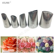 SYLPHY 5pcs Large Stainless Steel Cake Cream Tips Set Rose Tulip Petal Piping Nozzles Baking Pastry Tool(China)