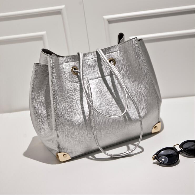 Silvery color women handbag metal solid color pu ladies shoulder bags composite inside bag shining fashion bag string hasp<br>