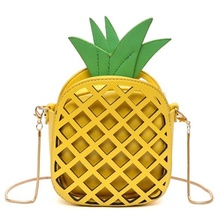 Women Brand Interesting Design Fruit Bags Cute Pineapple Chain Shoulder Bag PU Leather Messenger Bag Clutch Purse 2017 Hot Sale