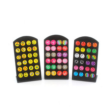 Hot Sell 12 pair/lots Round Happy Face Emoji Letter Cute Funny Smiley Stud Earrings For Women Girls Christmas Gift