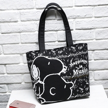 New Fashion Snoopie Cartoon Dogs Women Portable Bags Black Thick Canvas Bag 27*13*29cm Kids Christmas Gifts brinquedos