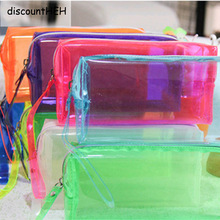 Transparent Estuches School Stationery Pencilcases Girl Kawaii Escolar Pencil Case Papelaria Candy Colors Random Pencil Box(China)