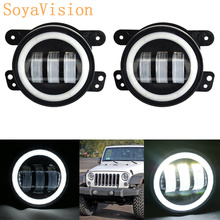 2PCS 4Inch Round Led Fog Lights 30W 6000K White Halo Ring DRL Off Road Fog Lamps For Jeep Wrangler JK TJ LJ Grand Cherokee(China)