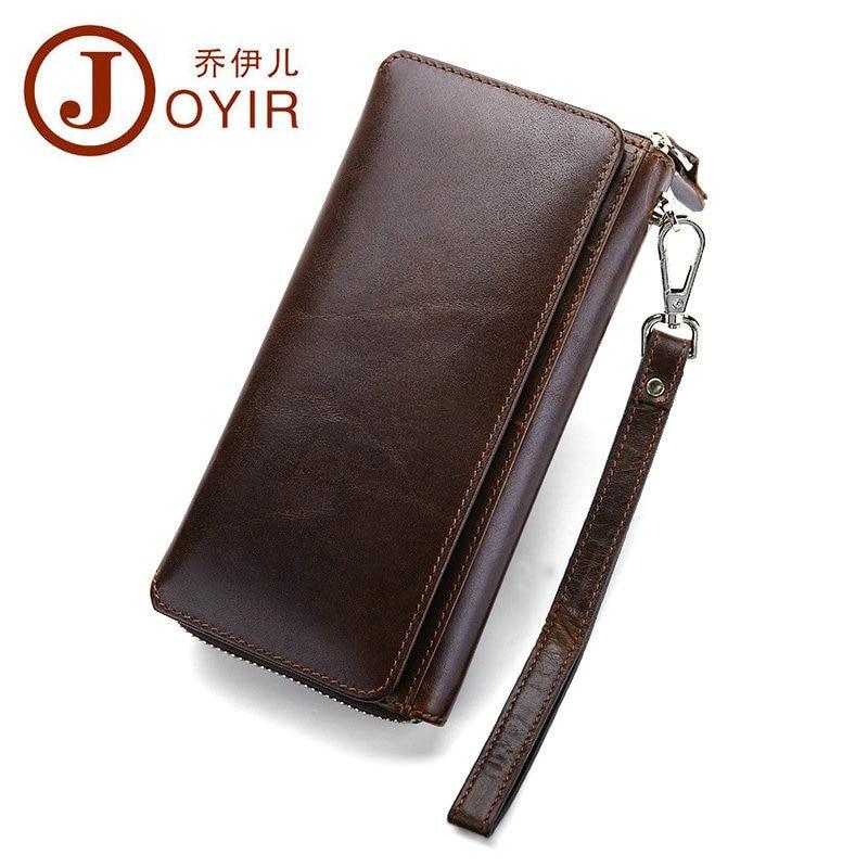 Crazy Horse Leather Men Wallets Large Credit Cards Money Clutch Bag Men Wallet Genuine Leather Vintage Long Zipper Coin Pocket<br>