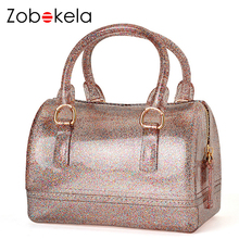 ZOBOKELA Women handbags Brand shoulder transparent jelly bag Candy Summer female women messenger bags crossbody mini phone bag
