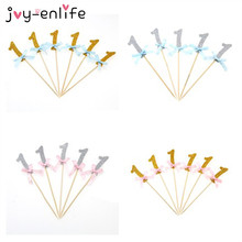 JOY-ENLIFE 12pcs/bag Sparkling 1st birthday  Blue/Pink Ribbon Bow Cupcake Topper Birthday Decor Baby Shower Cake Decor Supplies