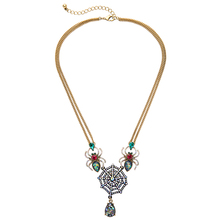 Fashion Bijoux Women Double Layers Long Chain Neckalce Vivid Crystal Epoxy Resin Glass Ornament Spider Shaped Pendant Necklaces(China)