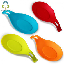 3pcs/lot food grade Silicone Spoon Rest Utensil Spatula Holder Heat Resistant Kitchen Tool Mix Candy Color WYQ(China)