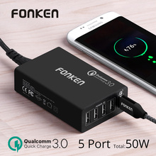 FONKEN 5 Port usb charger Quick charge 3.0 Fast charger Dock station QC3.0 50W USB adapter for Power bank Mobie phone charger(China)