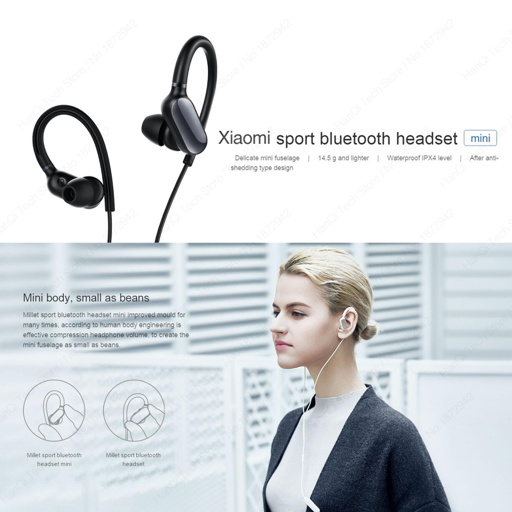 New Original Xiaomi Mi Sports Bluetooth Headset Mini Version Wireless Earbuds With Microphone Waterproof Bluetooth 4.1 Earphone