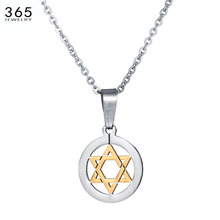 Hot Sale Stainless Steel David Star Necklace Shield of David Magic Hexagram Female Necklace Pendant