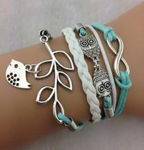 Owls & Lucky Branch/Leaf and Lovely Bird Charm Bracelet in silver plated- Mint Green Wax Cords and Leather Braid