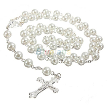 Long Rosary Chain Imitate Pearl Ball Beads Beach Pendant Necklace Silver Drop Cross 5 Colors(China)