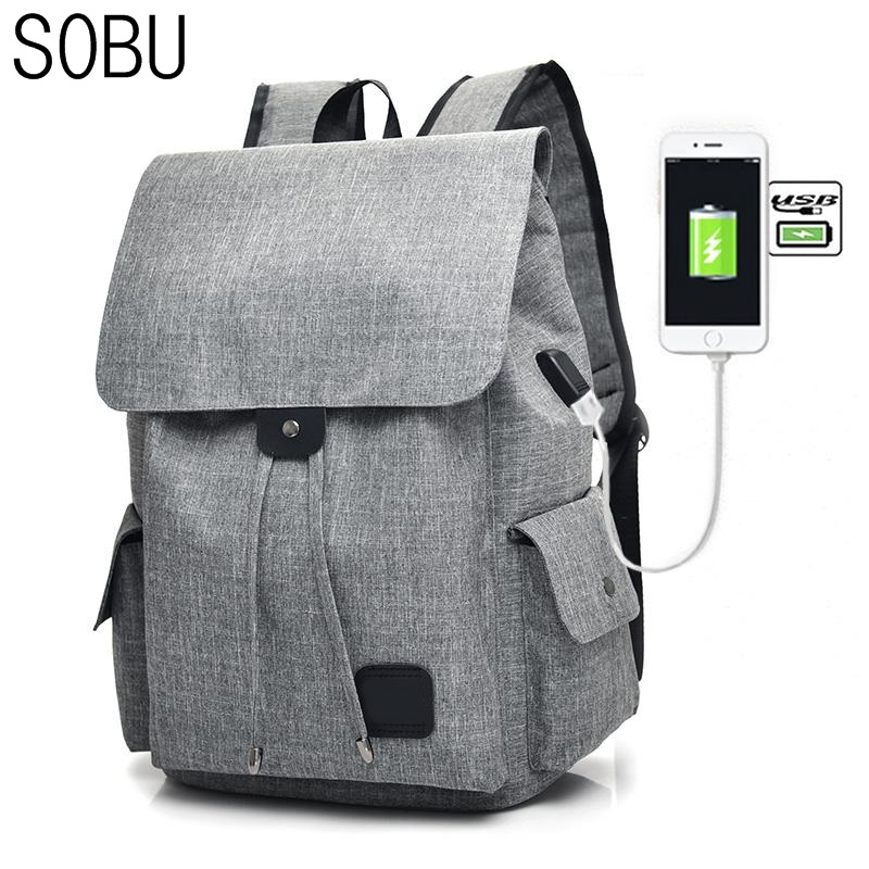 SOBU Backpack Student College Waterproof Canvas Backpack Men Women Material Mochila Quality Brand Laptop Bag School Backpack H47<br>