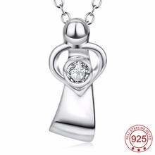 YFN 925 Sterling Silver Mother Love Pendant Necklace Mom And Child Love Heart Crystal Pendant Fashion Jewelry For Women(China)