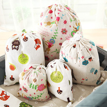 1pc Cotton Linen Cartoon Cat- Style Bags Drawstring Sack Tea Gift Bag Small Beam Rope Pouches Home Decor Handbags V4378(China)