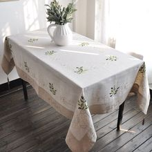 French Olive Embroidery Tablecloth Olive Embroidery Tablecloth Rectangle Linen Tablecloth Embroidery Table Cover Many Size