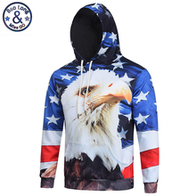 Mr.BaoLong 2017 fashoin American Eagle Flag hooded Sweatshirt men new Spring drawstring hoodies svitshot jersey con capucha H38(China)