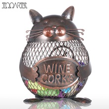 Tooarts Coin Box Cat Kitten Wine Cork Container Animal Ornament Iron Art Practical Crafts Favor Gift Home Decoration