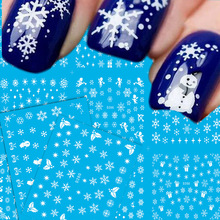 11Designs/lot Christmas Design Nail Art Sticker Temporary Tattoos Snowflake Flowers Water Transfer Nail Manicure Tips TR260-270(China)