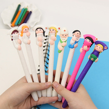 2PCS Cute Cartoon Doctor Nurse Ballpoint Pen Polymer Caly Ball Point Pens for Writing Stationery School Office Supplies