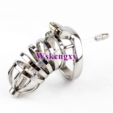 Buy NEW Male Chastity Device Penis Lock arc-shaped Cock Ring Urethral Catheter BDSM Sex Toys Stainless Steel Chastity Belt