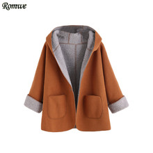 ROMWE Women's Winter Designer Coats Korean Fashion Winter Coats Women Khaki Contrast Sherpa Lining Single Button Hooded Coat