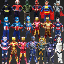 halloween superhero avengers Boys Muscle Super Hero Captain America Costume SpiderMan Iron Man Hulk Cosplay for Kids Children