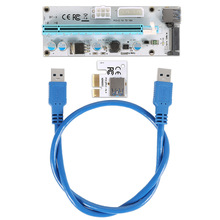 60cm PCI-E Express 1X To 16X Extender Riser Card Adapter USB 3.0 LED SATA 6 Pin Power Cable For Mining XXM8