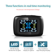 TPMS Car Tire Pressure Wireless Monitor System 4 External Internal Sensors and LCD Embedded Real Time Digital Display Alarm