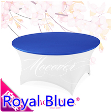 Royal blue colour wedding spandex table cloth lycra top cover for round tables decoration decor hotel banquet party wholesale