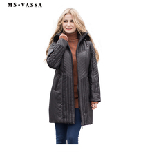 MS VASSA Women Trench coats Autumn Winter Ladies Fashion coat detachable hood with fake fur plus size 4XL 6XL lace decoration(China)