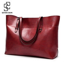 SEVEN SKIN Women Messenger Bags Large Size Female Casual Tote Bag Solid Leather Handbag Shoulder Bag Famous Brand Bolsa Feminina(China)