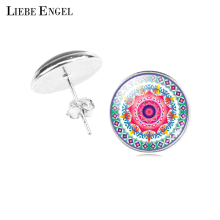 LIEBE ENGEL Classic Mandala Flower OM Symbol Buddhism Zen Picture Glass Cabochon Stud Earring Vintage Silver Color Jewelry Women