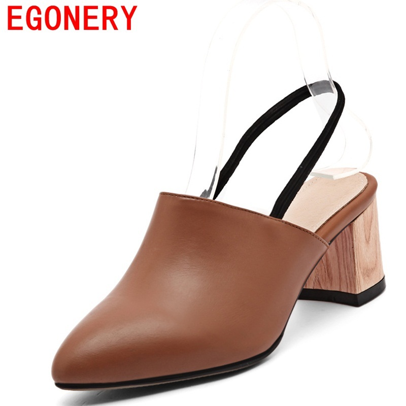 EGONERY shoes genuine leather sandals pointed toe woman concise retro pumps for summer soft and matte leather casual dandals<br>