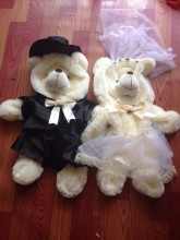 Free Shipping Wedding dolls plush teddy bear skin, baby toys send girls birthday / Christmas gift, wedding lovers bear 1m