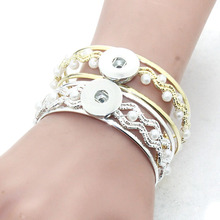 1 Button Elasticity Snap Charms Bracelet&Bangles Metal Bracelets fit 18mm Snap Button Jewelry 2758(China)