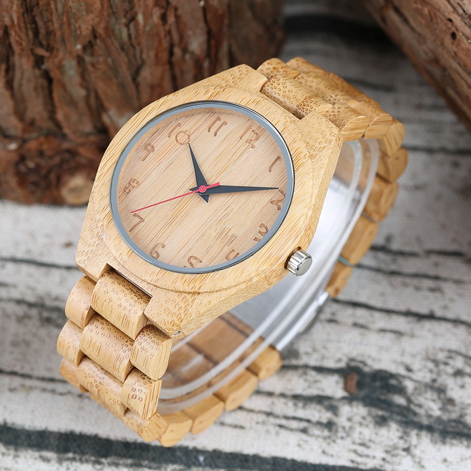 Bamboo Male Watch Handmade Engraving Numbers Dial Natural Wooden Wristwatch 100% Full Wood Bangle Men\'s Sport Quartz Clock Hours 2017 Gifts (5)