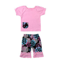 US Stock Kids Baby Girls T-shirt Knee-length Pants Foral Ruffle Summer Kids Clothing Set Outfits(China)