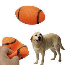1PCS Novelty Dog Pet Puppy Sound Chew Squeaky Toys Small Squeaker Rubber Rugby Ball Orange Drop