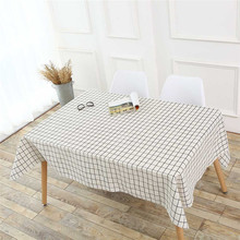 ISHOWTIENDA Simple checkered cotton Flag Grain Tablecloth Cotton Linen Rustic Rectangle Washable Table Cover(China)