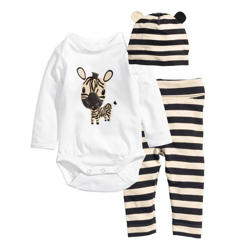 2016 New Cotton Children Casual Cartoon Baby Boys Girls Sets Clothes 3pcs(Long-Sleeved Romper+Hat+Pants)Children Clothing<br><br>Aliexpress