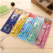 5sets/lot cartoon cute children stationery set novelty students school supplies kawaii character sets kids back to school