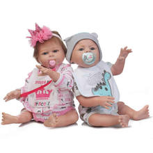 Buy Lovely Girl Boy Twins Baby Dolls Full Silicone Realistic 20'' Reborn Babies Magnetic Pacifier 2 PCS Kids Xmas Gifts