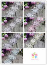 Lucia Crafts 1yard/lot Multi colors option 6cm Double flower with pearls Lace Ribbon DIY Garment Sewing Accessories 050025074